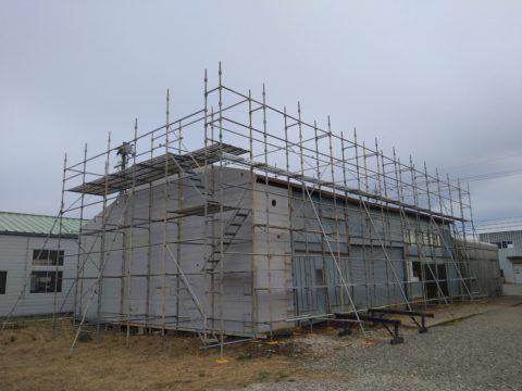 屋根取り替え用足場工事完了